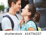 young people  couple having... | Shutterstock . vector #614756237