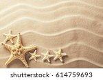 sea star fish on an idyllic...   Shutterstock . vector #614759693