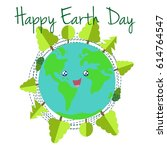 happy earth day. cute planet... | Shutterstock .eps vector #614764547
