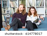 a couple relaxing toghether on... | Shutterstock . vector #614778017