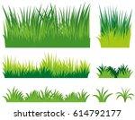 different doodles of grass... | Shutterstock .eps vector #614792177