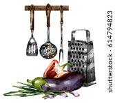 kitchen set. vegetarian set in...   Shutterstock . vector #614794823