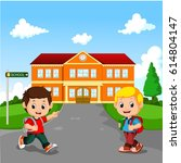 little boy going to school | Shutterstock . vector #614804147