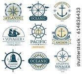 retro nautical vector labels ... | Shutterstock .eps vector #614836433