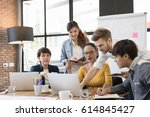 multiethnic diverse group of... | Shutterstock . vector #614845427