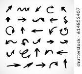 hand drawn arrows  vector set | Shutterstock .eps vector #614853407