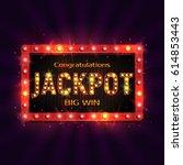 shining retro sign jackpot... | Shutterstock .eps vector #614853443
