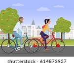 young couple riding a sport... | Shutterstock .eps vector #614873927