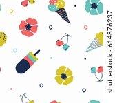 lovely summer pattern  ... | Shutterstock .eps vector #614876237