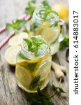 mint lemonade refreshment... | Shutterstock . vector #614883017