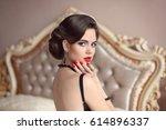 beautiful brunette  elegant... | Shutterstock . vector #614896337