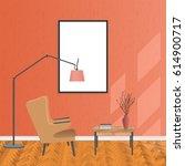 mockup living room interior in... | Shutterstock .eps vector #614900717