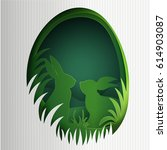 creative happy easter... | Shutterstock .eps vector #614903087