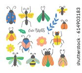 hand drawn cute bugs and... | Shutterstock .eps vector #614903183