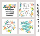 mothers day greeting card set ... | Shutterstock .eps vector #614903393