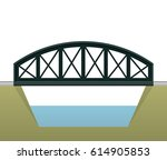 vector arched train bridge in... | Shutterstock .eps vector #614905853