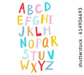 hand drawn colorful alphabet... | Shutterstock .eps vector #614906693