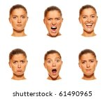 A set of six faces showing different emotions - stock photo