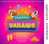 illustration of happy vaisakhi... | Shutterstock .eps vector #614912093
