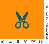 scissors. blue symbol icon on...