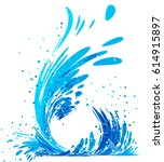 blue water splash isolated on... | Shutterstock .eps vector #614915897