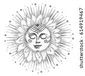 hand drawn sun with face and... | Shutterstock .eps vector #614919467