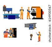 the process of working people... | Shutterstock .eps vector #614930567