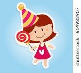 girl cartoon children day | Shutterstock .eps vector #614932907