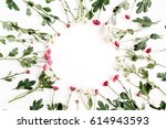 wreath frame of red and white... | Shutterstock . vector #614943593