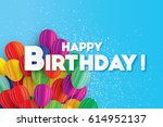 flying paper cut balloons.... | Shutterstock .eps vector #614952137