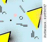 memphis simple 80s pattern.... | Shutterstock .eps vector #614954747