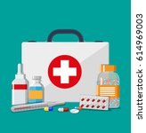 medical first aid kit with... | Shutterstock . vector #614969003