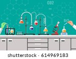 science experiment in... | Shutterstock . vector #614969183