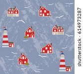 seamless pattern with norway... | Shutterstock .eps vector #614973287