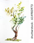 watercolor tree | Shutterstock . vector #614983973