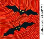 scary bats halloween vector icon | Shutterstock .eps vector #614986217