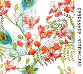 watercolor tropical pattern... | Shutterstock . vector #614991863