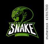 furious green snake sport... | Shutterstock .eps vector #615017033