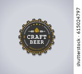 beer bottle cap shaped badge... | Shutterstock .eps vector #615024797