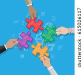 hands putting puzzle pieces... | Shutterstock .eps vector #615026117