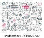 sweets. bubble gum set. hand...   Shutterstock .eps vector #615028733