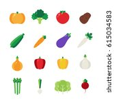 icon set with vegetables.... | Shutterstock .eps vector #615034583