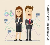 business man and woman standing ... | Shutterstock .eps vector #615038843