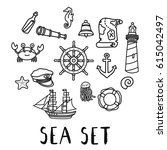 hand drawn doodle sea set... | Shutterstock .eps vector #615042497