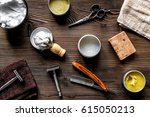 babrer workplace with tools on... | Shutterstock . vector #615050213