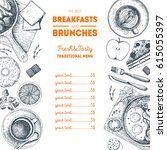 breakfasts and brunches top... | Shutterstock .eps vector #615055397