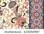 seamless floral patterns set.... | Shutterstock .eps vector #615056987