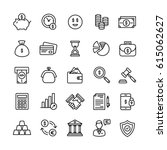Vector Money and Finance Flat Outline Icons Set | Shutterstock vector #615062627