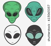 Alien Face Icon Set  Humanoid...