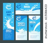 cartoon natural milk brochures... | Shutterstock .eps vector #615086423